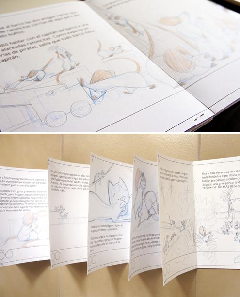maqueta con bocetos para ilustracion infantil Nice Tales
