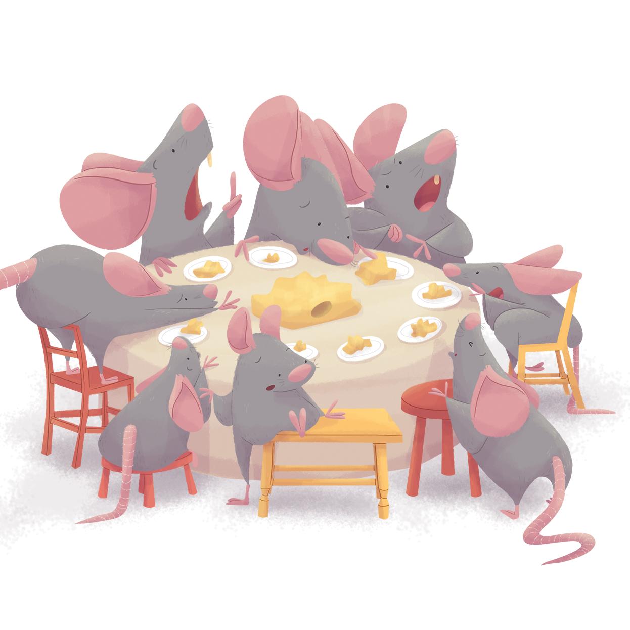 ilustracion infantil sneak peek raton comida mesa