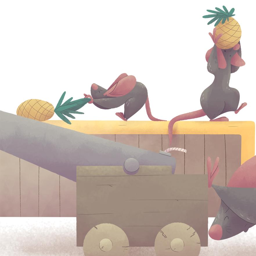 ilustracion infantil raton nice tales pirata piña cañon