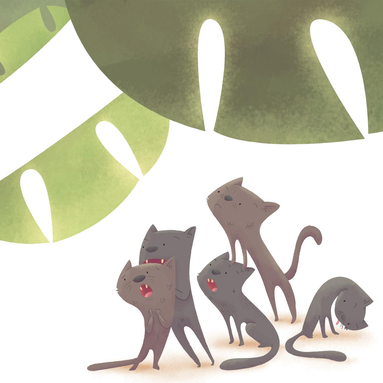 ilustracion infantil gatos playa nice tales