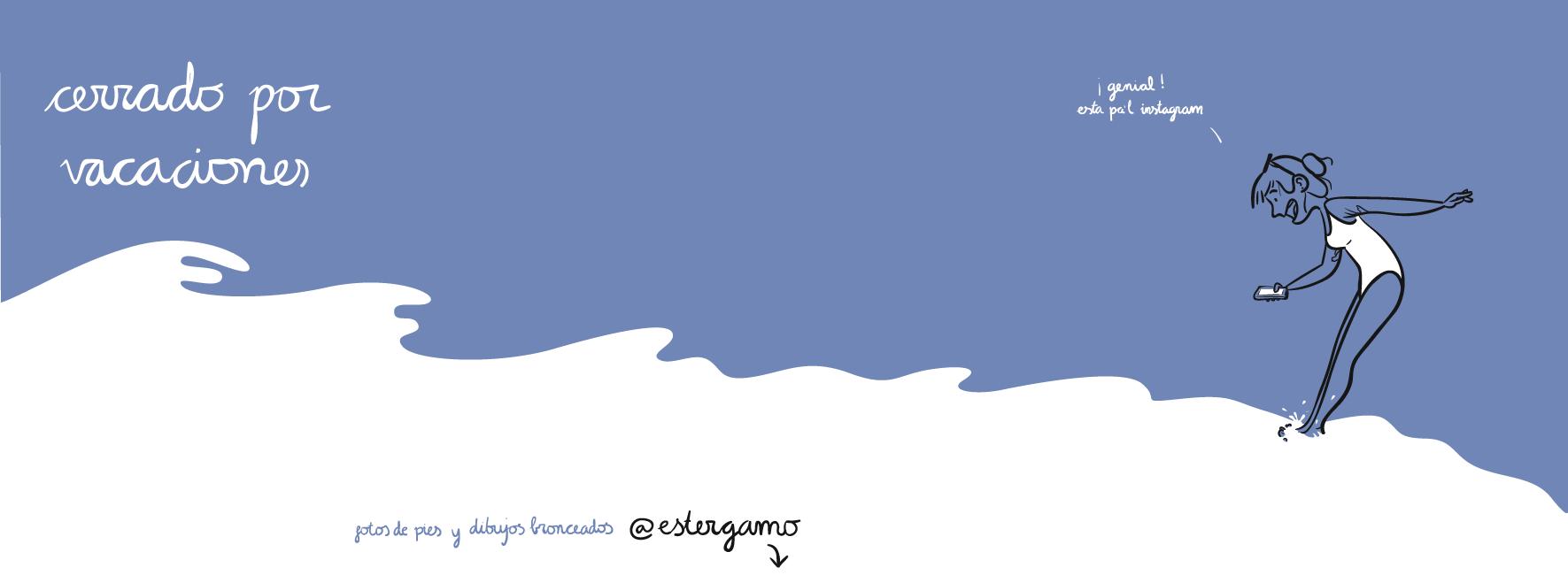 ilustración illustration con selfie de verano haciendo foto pic de pies feet en Mallorca