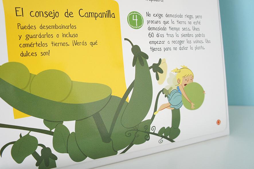 Mi primer huerto en casa portada libro infantil urbano ilustración Children book illustration urban garden Peter Pan tinkerbell  campanilla guisante pea