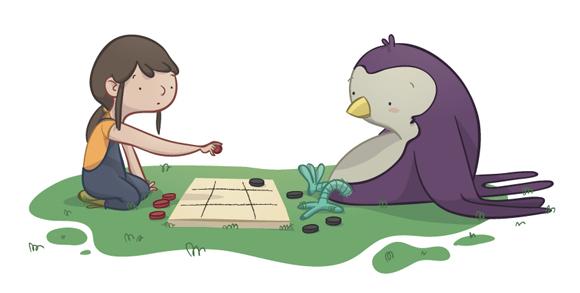 educational book illustration with girl and swallow playing chess ilustración para libro de texto con niña y golondrina jugando ajedrez