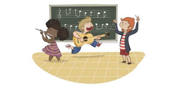 educational book illustration music classroom children kids learning , ilustración libro de texto infantil clase de música educación aprendizaje instrumento