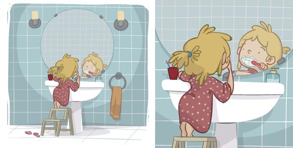 educational book illustration girl brush teeth learning , ilustración libro de texto niña limpieza dientes aprendizaje educación infantil