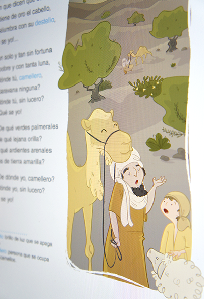 ilustración infantil camellero libro de texto milhojas anaya ilustradora childrenbook illustration educational book camel color illustrator