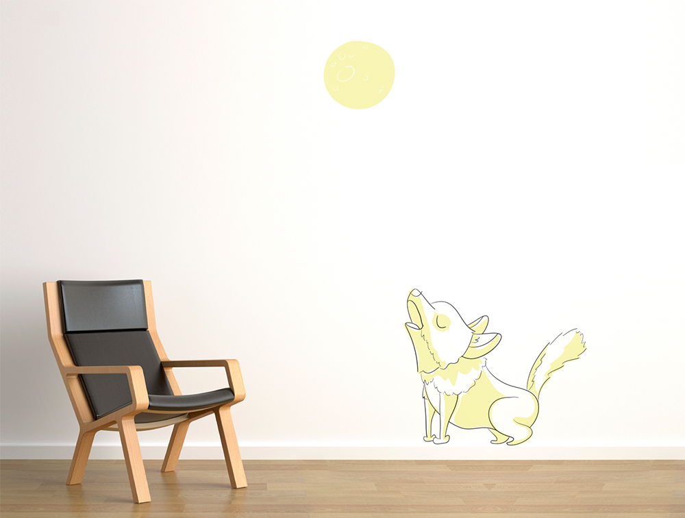Vinilo The wallery lobo habitación infantil ilustración niños sticker wall vynil wolf funny illustration kids room decoration decoracion lol