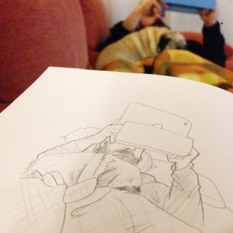 perra Leela carlino pug boyfriend rest flu gripe sketch drawing sketchbook boceto cuaderno dibujo garabato ipad rest descanso
