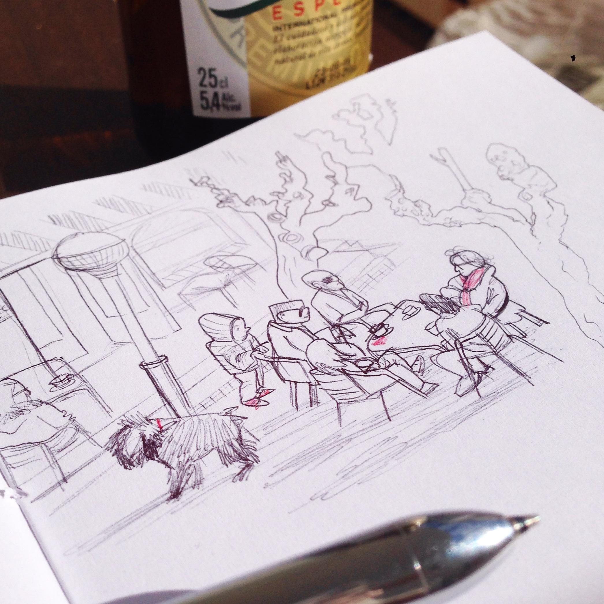 sketchbook sketch boceto cuaderno dibujo doodle garabato bar terrace terraza vermouth people urban sketcher balcony san miguel beer