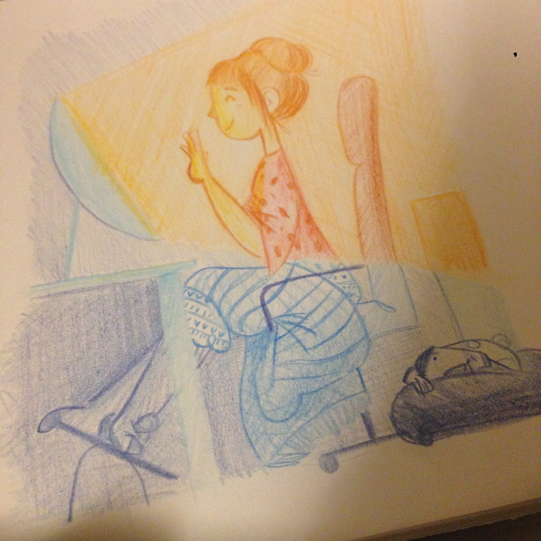 idea sketch boceto ilustración illustration sketchbook libreta cuaderno color video conference conferencia skype  pug carlino home casa freelance autónomos vida life
