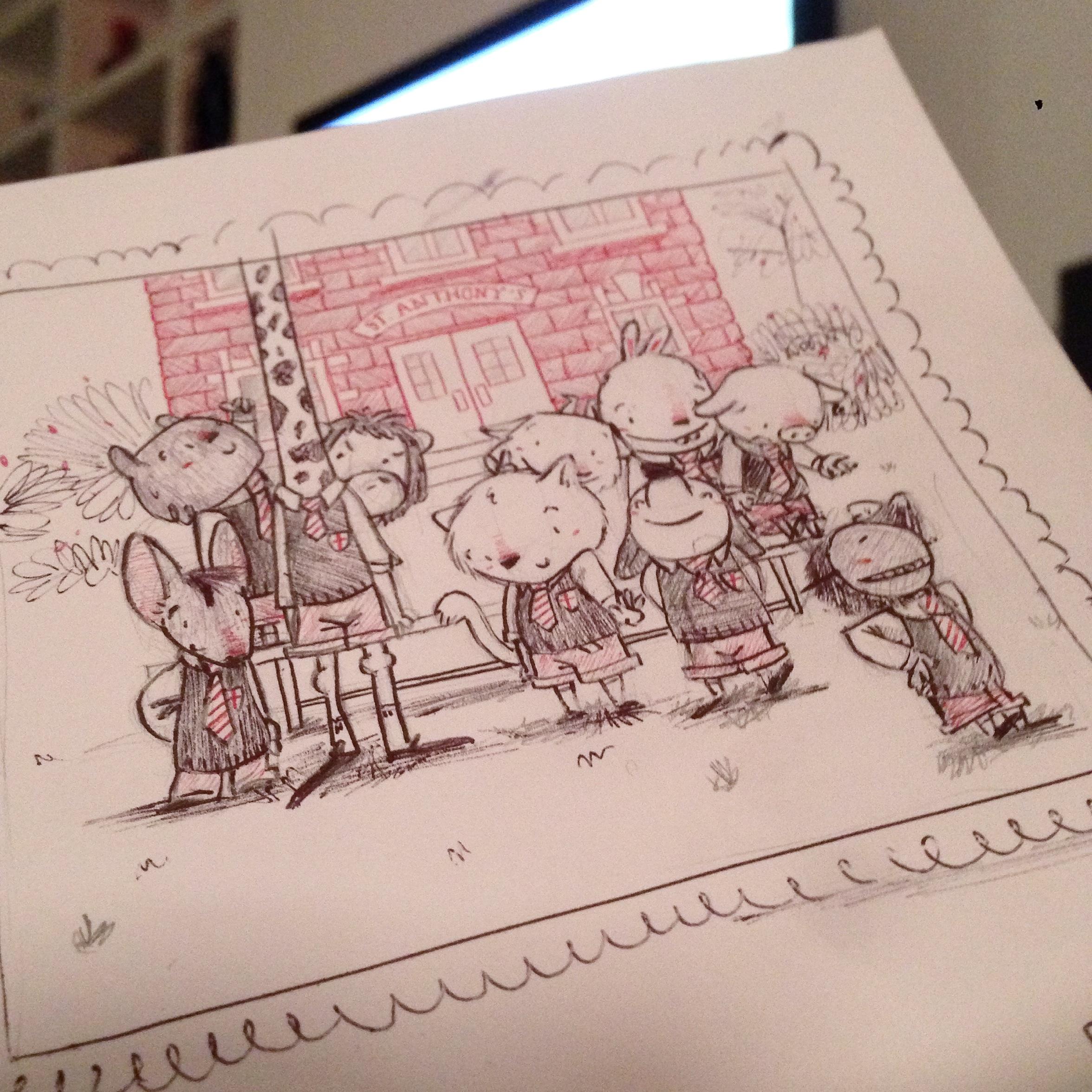 sketchbook sketch boceto cuaderno dibujo doodle garabato urban sketcher idea children's book illustration ilustración infantil animales animals school photography foto