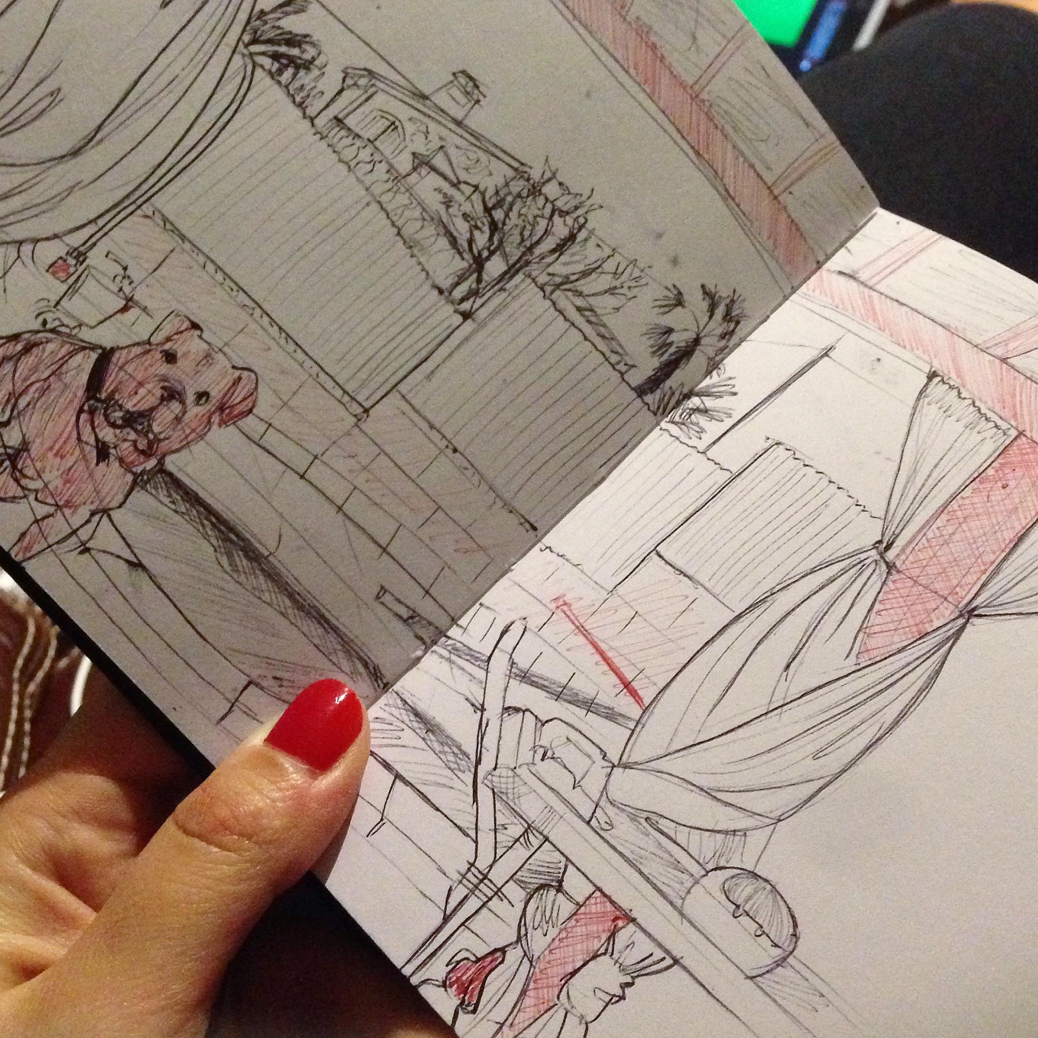 sketchbook sketch boceto cuaderno dibujo doodle garabato urban sketcher mallorca family landscape Bud dog Santa Ponça casa home