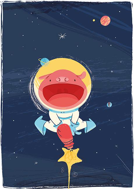 cerdito galáctico espacial divertido yuhu astronauta ilustración infantil space galactic pig funny lol children's book illustration space oddity astronaut