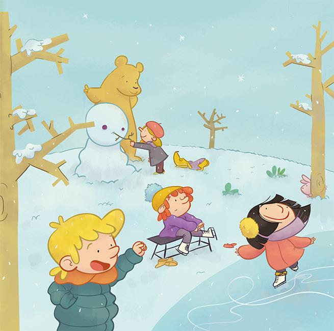 estaciones del año ilustración infantil  primavera verano otoño invierno niños perro seasons year spring summer  fall autumn winter fun children's book illustration