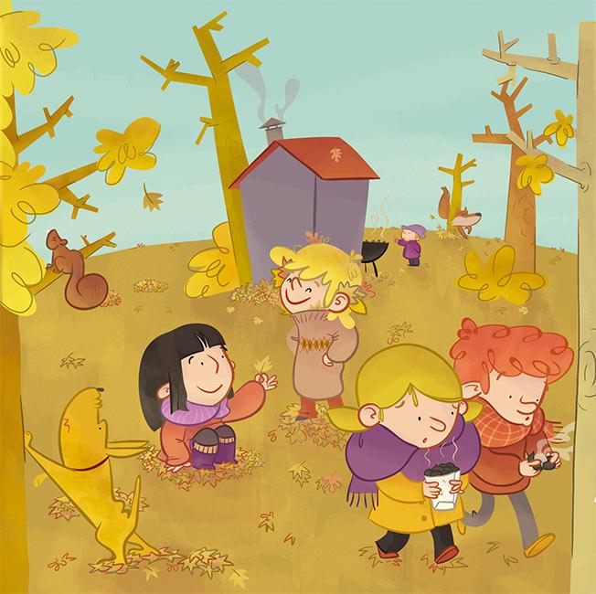 estaciones del ao ilustracin infantil primavera verano otoo invierno nios perro seasons year spring summer fall