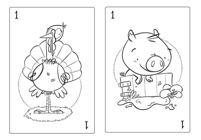 card deck sketches scan farm animal pig hen turkey cow playing card baraja española animales de granja pavo cerdo vaca gallina juego de cartas