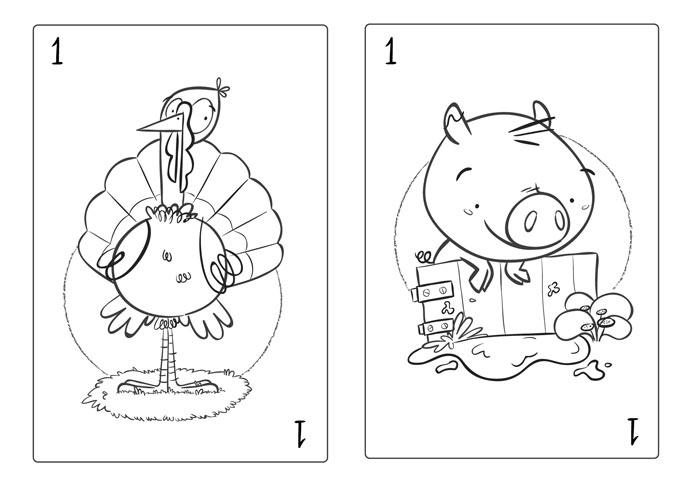 card deck sketches scan farm animal pig hen turkey cow playing card baraja española animales de granja pavo cerdo vaca gallina juego de cartas