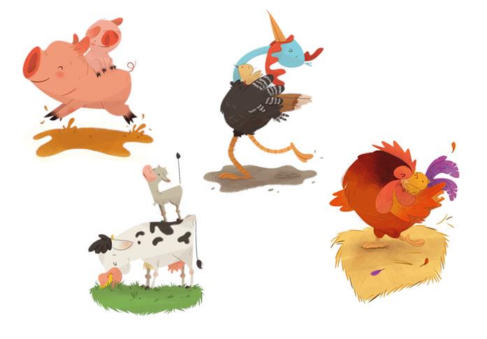 card deck sketches scan farm animal pig hen turkey cow playing card baraja española animales de granja pavo cerdo vaca gallina juego de cartas caballo