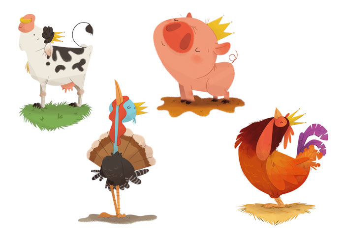 card deck sketches scan farm animal pig hen turkey cow playing card baraja española animales de granja pavo cerdo vaca gallina juego de cartas rey