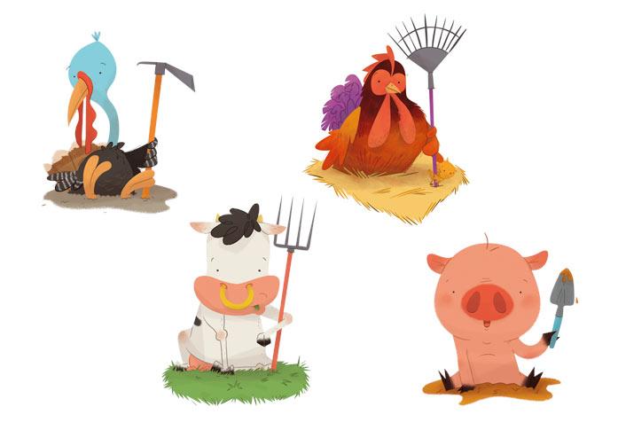 card deck sketches scan farm animal pig hen turkey cow playing card baraja española animales de granja pavo cerdo vaca gallina juego de cartas ases