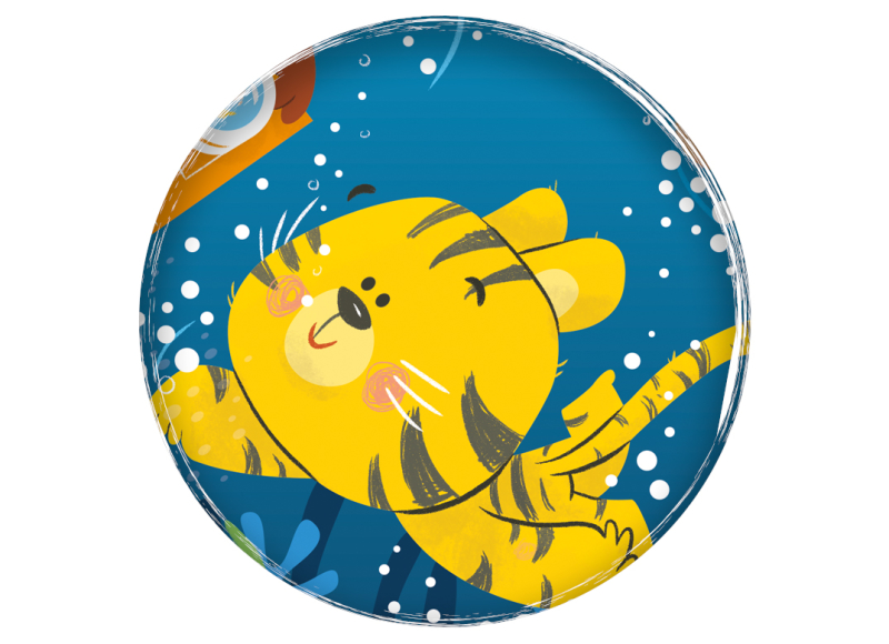 Water Babies swimming babies sample illustration children's book tiger monkey turtle animals underwater ilustración infantil natación bebé England Inglaterra