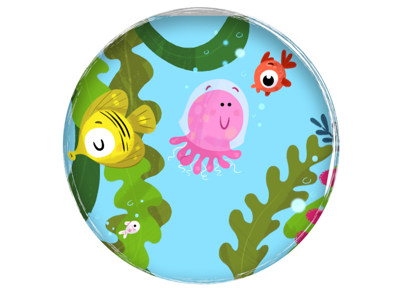 Usborne sample jellyfish maze puzzle children's book illustration fish sea undersea cute Ilustración infantil muestra laberinto