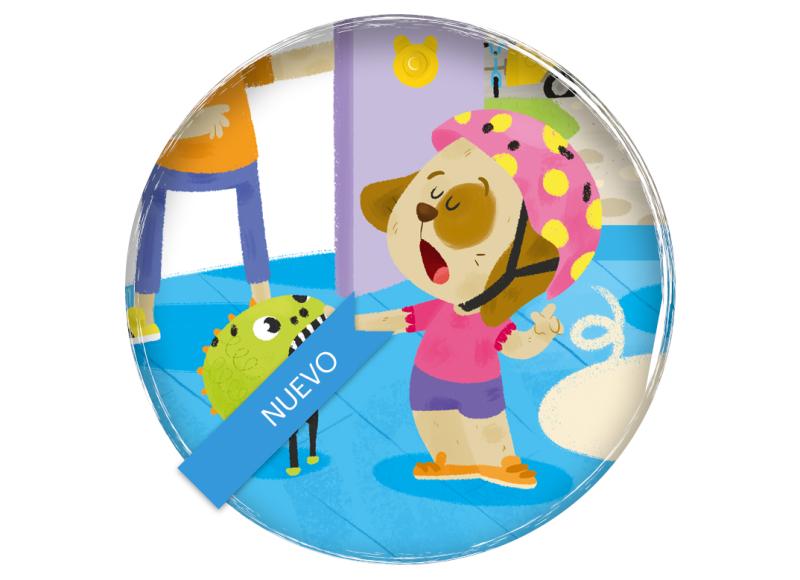Educació viària animales ilustración infantil escuela primaria Barcanova Anaya Hachette Dog family bike primary school car cycling city children's book illustration Bosc de colors 2016