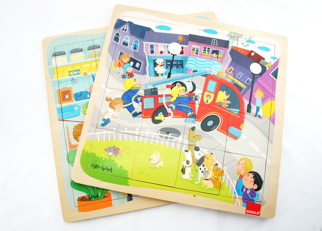 puzzle madera infantil goula diset juguete educativo profesiones ilustracion infantil wood puzzle toy children illustration cute profession