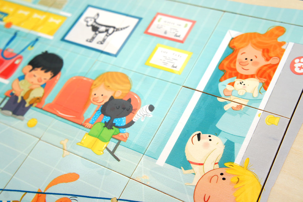 puzzle madera infantil goula diset juguete educativo profesiones ilustracion infantil wood puzzle toy children illustration cute profession