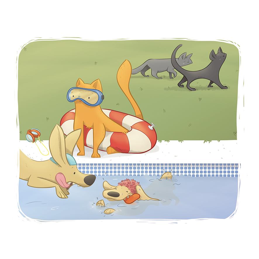 Ilustración infantil digital de gato y perros en piscina de verano por Ester Garay
