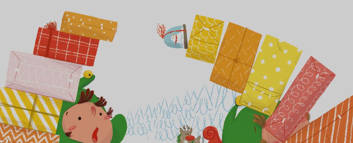xmas navidad postal navideña greeting card santa claus elf papá noel elfos rudolph ilustración infantil children's book illustration